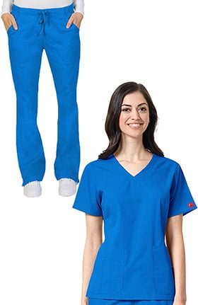 Ascent Unisex V-Neck Scrub Top & Drawstring Cargo Scrub Pant Set