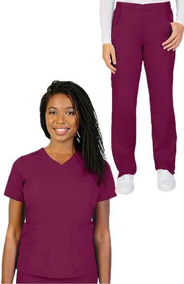Ascent by allheart Women's V-Neck Scrub Top & Pull On Straight Leg Scrub Pant Set