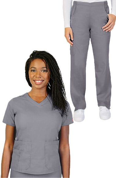 bd43831d2593f Clearance Ascent by allheart Women's V-Neck Scrub Top & Pull On Straight  Leg Scrub ...