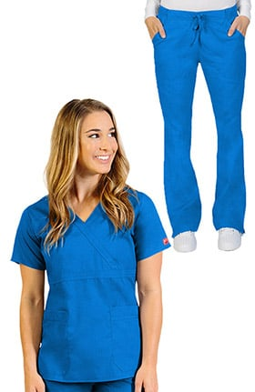 Ascent by allheart Women's Mock Wrap Scrub Top & Flare Leg Drawstring Scrub Pant Set