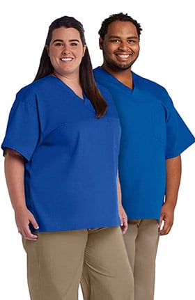 Basics by allheart Unisex Plus Size V-Neck Solid Scrub Top