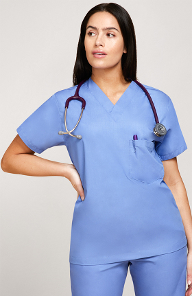 1888d75acaa Basics by allheart Women s V-Neck 3 Pocket Solid Scrub Top