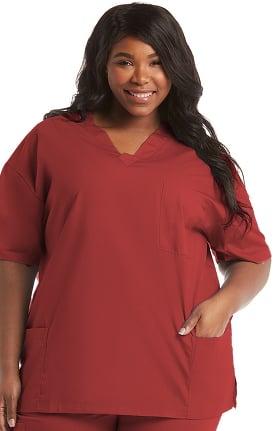 Basics by allheart Women's V-Neck 3 Pocket Solid Scrub Top
