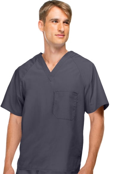 Basics by allheart Men's V-Neck Solid Scrub Top