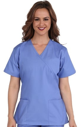 c8307832d54 Basics by allheart Women s Mock Wrap Solid Scrub Top