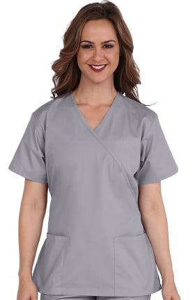Basics by allheart Women's Mock Wrap Solid Scrub Top