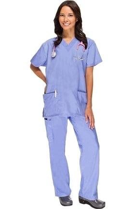 Clearance Basics by allheart Women's 2 Pocket Top and Cargo Pant Scrub Set