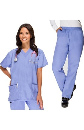 Basics by Allheart Women's V-Neck Scrub Top & Elastic Waist Scrub Pant Set
