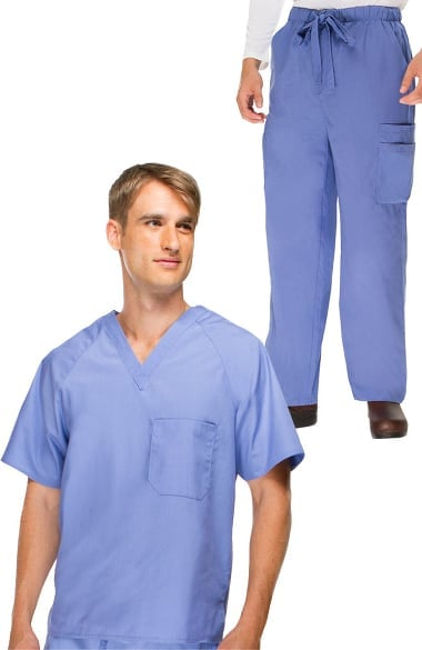 Basics by allheart Men's V-Neck Scrub Top & Cargo Scrub Pant Set