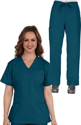 Basics by allheart Women's Mock Wrap Scrub Top & Cargo Scrub Pant Set