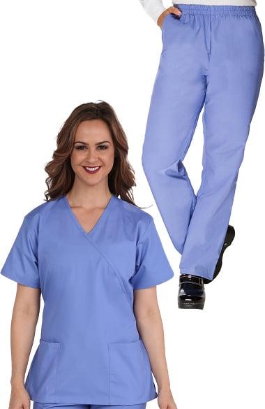 Women/'s Medical Scrubs Uniform Set V-neck Wrap Top with Red Neckline 7 Pockets