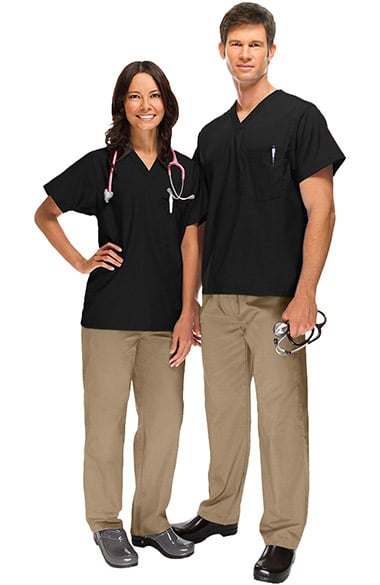 Basics by allheart Unisex V-Neck Scrub Top & Drawstring Scrub Pant Set