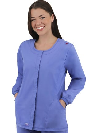 elate by allheart Women's Snap Front Solid Scrub Jacket