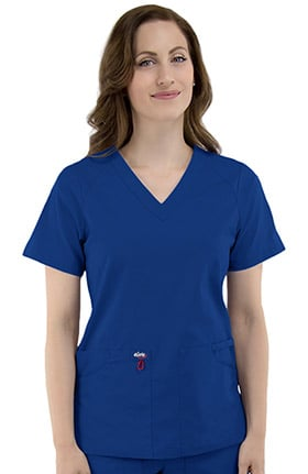 elate Women's V-Neck Solid Scrub Top