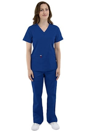 elate Women's V-Neck Solid Scrub Top & Flare Leg Drawstring Scrub Pant Set