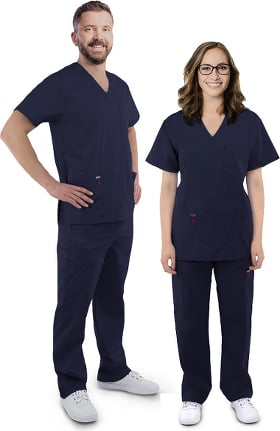 Clearance elate by allheart Unisex V-Neck Solid Scrub Top & Cargo Scrub Pant Set