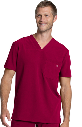 Luxe Supreme by allheart Men's Single Pocket Solid Scrub Top
