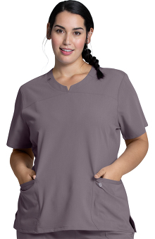Luxe Supreme by allheart Women's Notched Solid Scrub Top