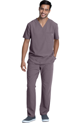 Luxe Supreme by allheart Men's Solid Scrub Top & Cargo Scrub Pant Set