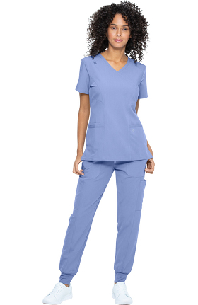 Luxe Supreme by allheart Women's Mock Wrap Solid Scrub Top & Jogger Scrub Pant Set