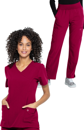 Luxe Supreme by allheart Women's Mock Wrap Solid Scrub Top & Yoga Scrub Pant Set