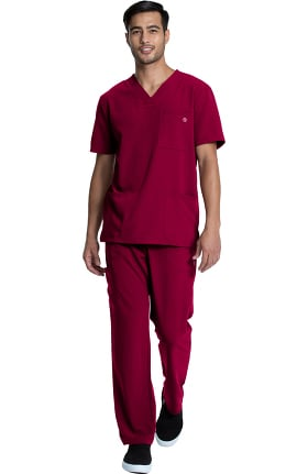 Luxe Supreme by allheart Unisex V-Neck Solid Scrub Top & Cargo Scrub Pant Set