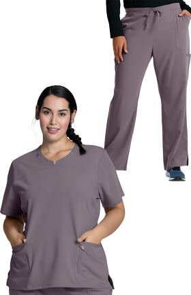 Luxe Supreme by allheart Women's Notched Solid Scrub Top & Cargo Scrub Pant Set