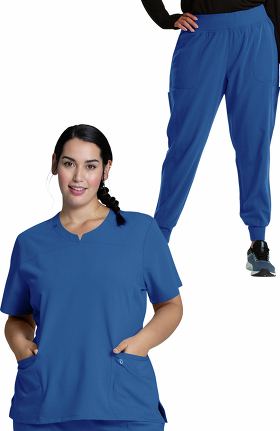 Luxe Supreme by allheart Women's Notched Solid Scrub Top & Jogger Scrub Pant Set
