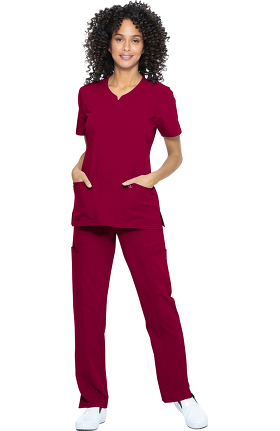 Luxe Supreme by allheart Women's Notched Solid Scrub Top & Yoga Scrub Pant Set