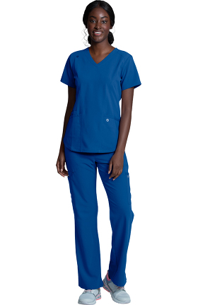 Luxe Supreme by allheart Women's V-Neck Solid Scrub Top & Cargo Scrub Pant Set