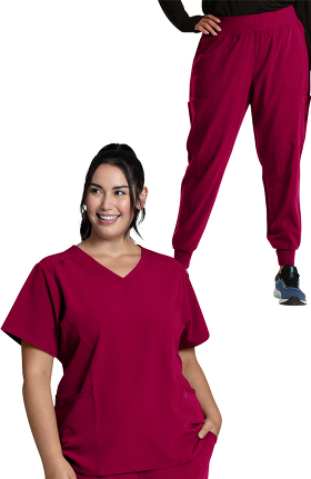 Luxe Supreme by allheart Women's V-Neck Solid Scrub Top & Jogger Scrub Pant Set