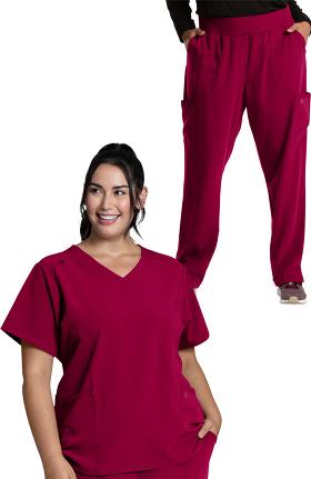 Luxe Supreme by allheart Women's V-Neck Solid Scrub Top & Yoga Scrub Pant Set