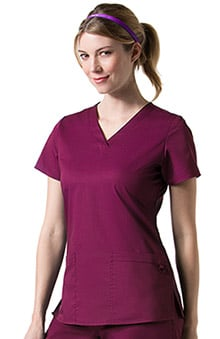 C3 by allheart Women's COOLMAX Basic V-Neck Solid Scrub Top