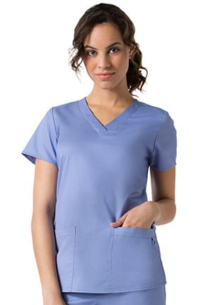 Clearance C3 by allheart Women's COOLMAX Basic V-Neck Solid Scrub Top