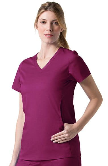 C3 by allheart Women's COOLMAX V-Neck Mesh Pocket Solid Scrub Top
