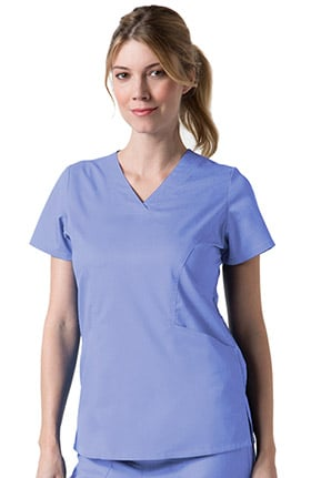 Clearance C3 by allheart Women's COOLMAX Sporty V-Neck Solid Scrub Top