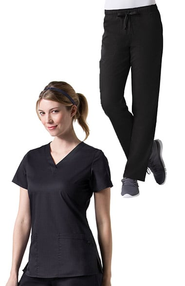C3 by allheart Women's COOLMAX Basic V-Neck Solid Scrub Top & COOLMAX Elastic Waistband Cargo Scrub Pants Set