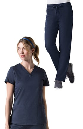 C3 by allheart Women's Basic V-Neck Solid Top &  Elastic Waistband Cargo Pant COOLMAX® Scrub Set