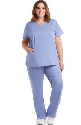 C3 by allheart Women's COOLMAX® Mock Wrap Solid Scrub Top & COOLMAX® Logo Elastic Waistband Scrub Pa