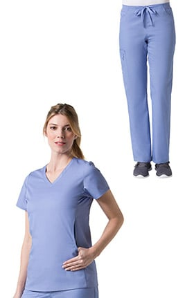 C3 by allheart Women's COOLMAX® V-Neck Mesh Pocket Solid Scrub Top & COOLMAX® Elastic Waistband Carg