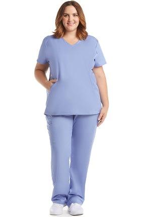 C3 by allheart Women's COOLMAX® V-Neck Mesh Pocket Solid Scrub Top & COOLMAX® Elastic Waistband Carg