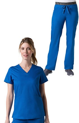 C3 by allheart Women's Sporty V-Neck Solid Scrub Top & Logo Elastic Waistband COOLMAX Scrub Set