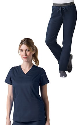 C3 by allheart Women's Sporty V-Neck Solid Scrub Top & Logo Elastic Waistband COOLMAX® Scrub Set