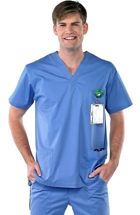 Clearance Avenue Scrubs Men's Antimicrobial V-Neck Solid Scrub Top