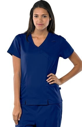 Clearance Avenue Scrubs Women's Antimicrobial Mock Wrap 2 Pocket Solid Scrub Top