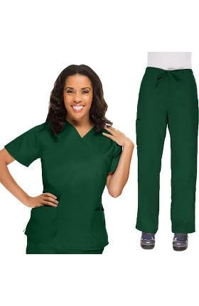 Clearance Allstar Uniforms Women's V-Neck Scrub Top & Drawstring Scrub Pant Set