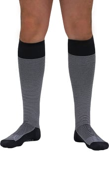 About the Nurse Men's Knee High 20-30 mmHg Charcoal Pin Stripe Print Compression Sock