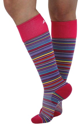 About the Nurse Women's Lite Support 10-15 mmHg Berry Stripe Print Compression Sock