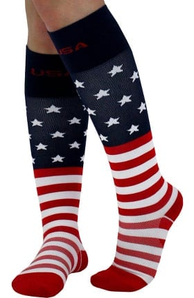 Clearance About the Nurse Women's Knee High 20-30 mmHg USA Flag Print Compression Sock