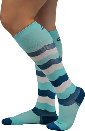 About the Nurse Women's Knee High 20-30 mmHg Aqua Print Compression Sock